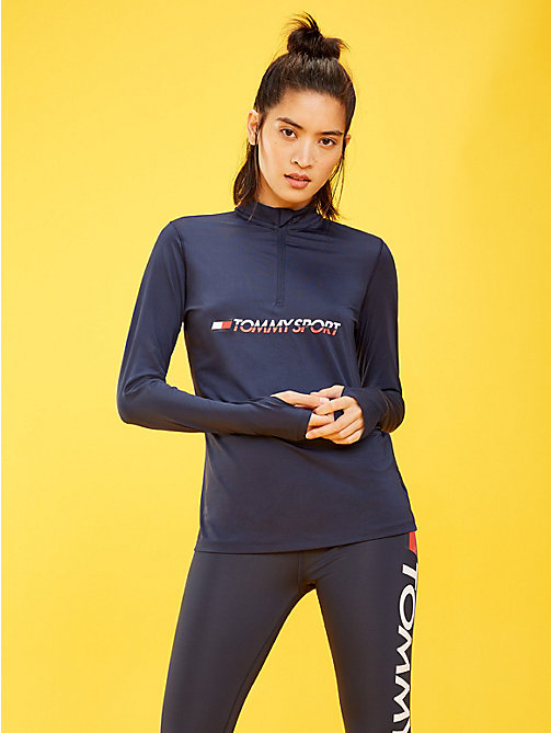 TOMMY SPORT Zip Neck Logo Top - SPORT NAVY - TOMMY SPORT Women - main image