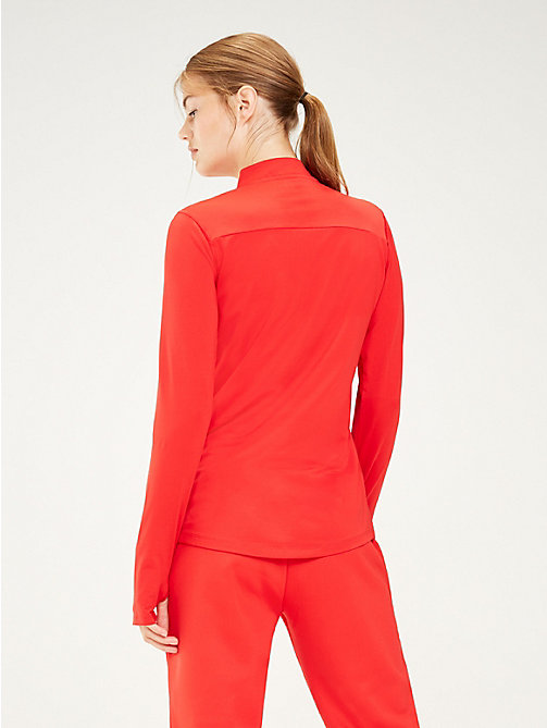 TOMMY SPORT Zip Neck Logo Top - TRUE RED - TOMMY SPORT Women - detail image 1