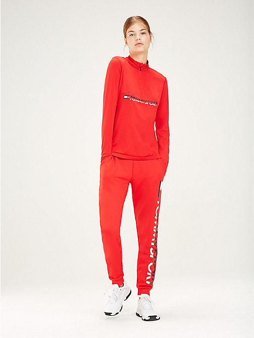 TOMMY SPORT Zip Neck Logo Top - TRUE RED - TOMMY SPORT Women - main image