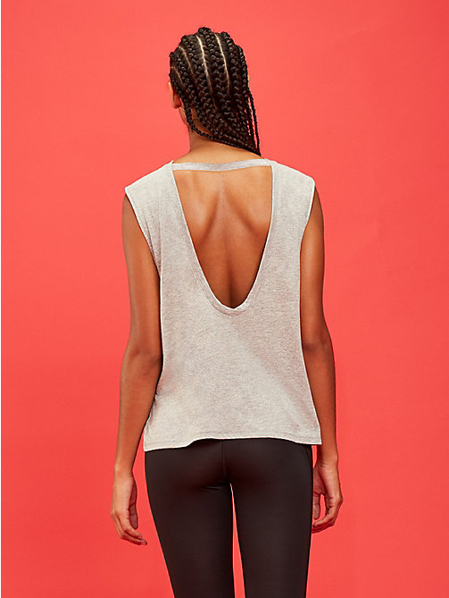 TOMMY SPORT Open Back Logo Tank Top - GREY HEATHER - TOMMY SPORT Women - detail image 1