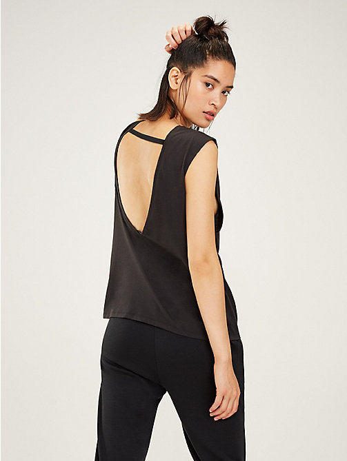 TOMMY SPORT Open Back Logo Tank Top - PVH BLACK - TOMMY SPORT Women - detail image 1
