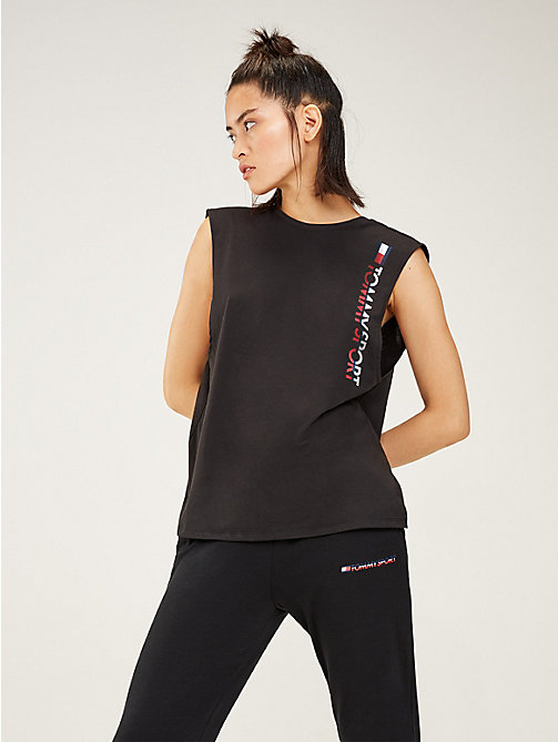 TOMMY SPORT Open Back Logo Tank Top - PVH BLACK - TOMMY SPORT Women - main image