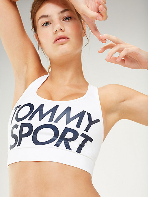 TOMMY SPORT Racerback Logo Medium Support Sports Bra - PVH WHITE - TOMMY SPORT Women - main image