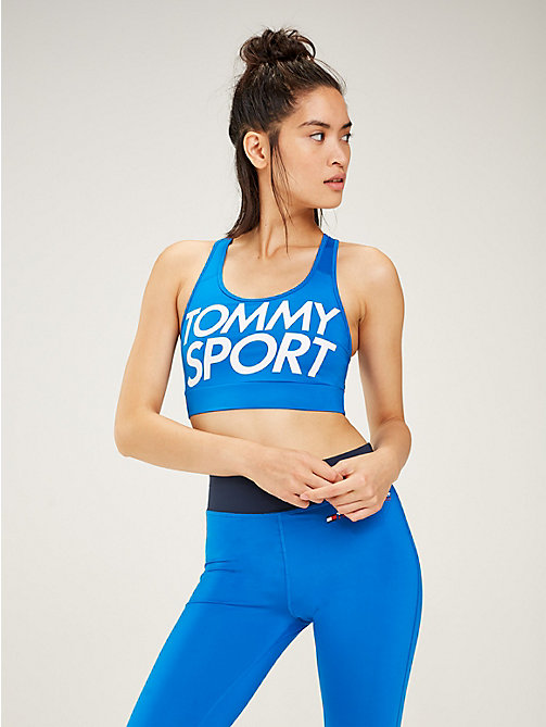 TOMMY SPORT Racerback Logo Medium Support Sports Bra - PRINCESS BLUE - TOMMY SPORT Women - main image
