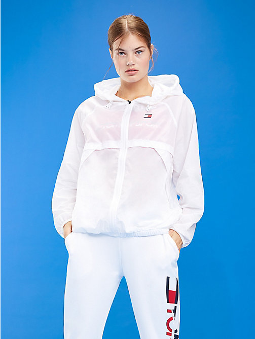 TOMMY SPORT Hooded Zip-Thru Windbreaker - PVH WHITE - TOMMY SPORT Women - main image