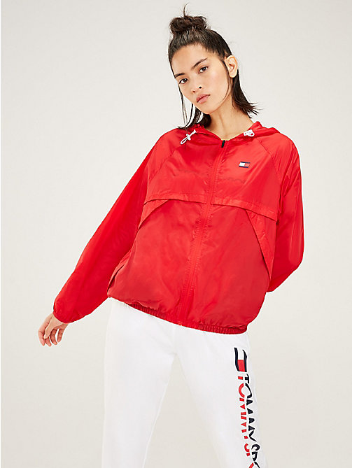 TOMMY SPORT Hooded Zip-Thru Windbreaker - TRUE RED - TOMMY SPORT Women - main image