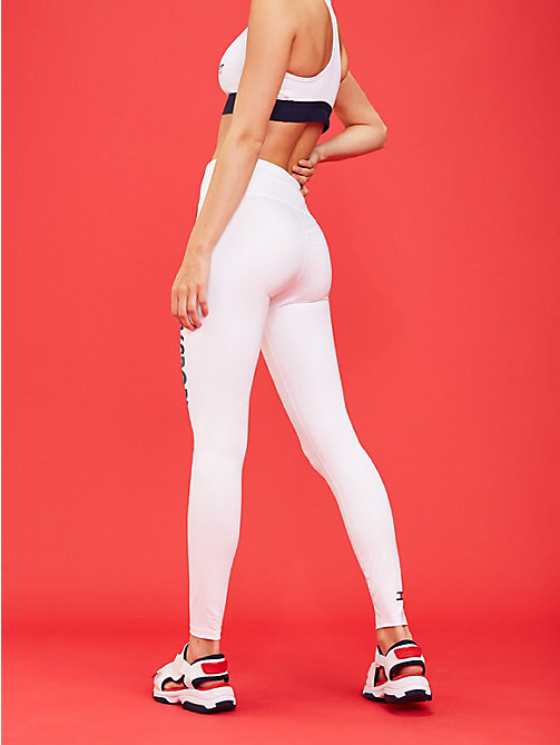 TOMMY SPORT High rise sportlegging met logo - PVH WHITE - TOMMY SPORT Dames - detail image 1