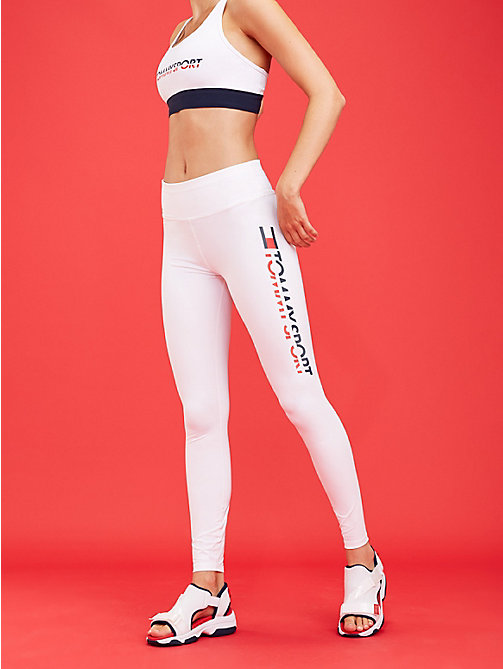 TOMMY SPORT High rise sportlegging met logo - PVH WHITE - TOMMY SPORT Dames - main image