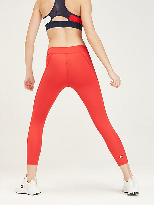TOMMY SPORT Cropped sportlegging met brede tailleband - TRUE RED - TOMMY SPORT Dames - detail image 1