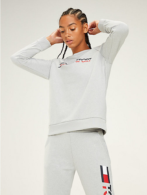 TOMMY SPORT Logo-Sweatshirt mit Rundhalsausschnitt - GREY HEATHER - TOMMY SPORT Damen - main image