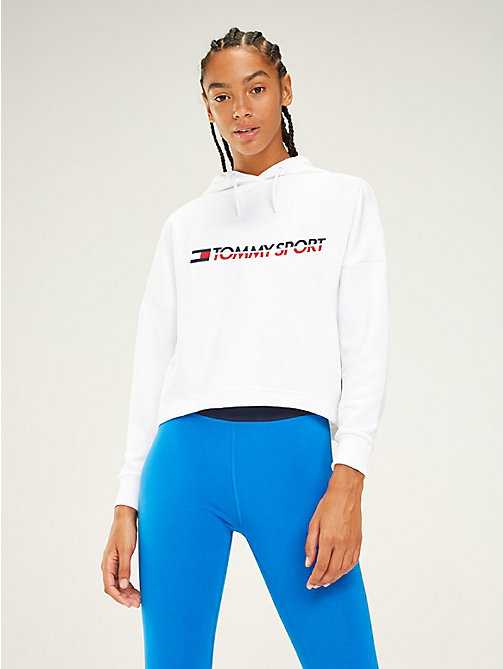 TOMMY SPORT Logo Flag Drawstring Hoody - PVH WHITE - TOMMY SPORT Women - main image