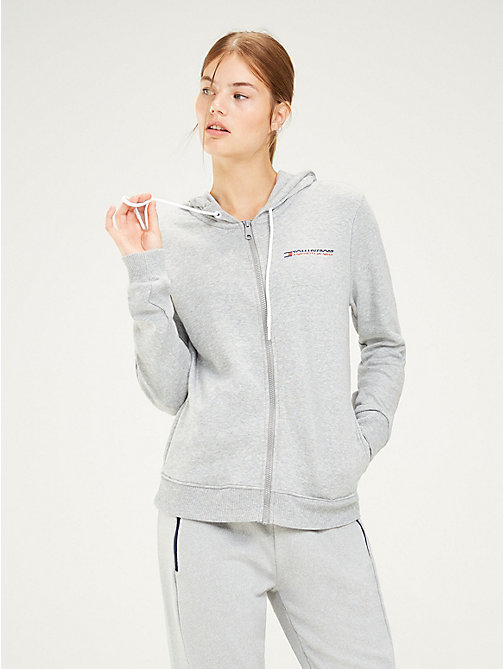 TOMMY SPORT Sweat à capuche zippé estampé - GREY HEATHER - TOMMY SPORT Femmes - image principale