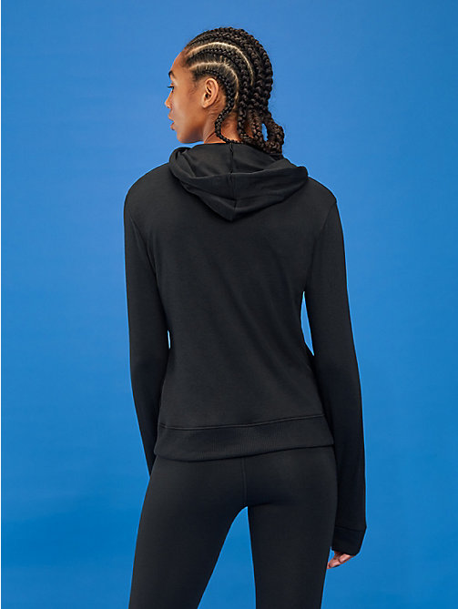 TOMMY SPORT Branded Zip-Thru Hoody - PVH BLACK - TOMMY SPORT Women - detail image 1