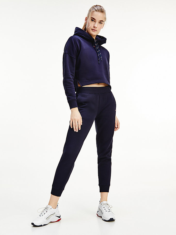 blauw sport th cool fleece jogger voor dames - tommy hilfiger