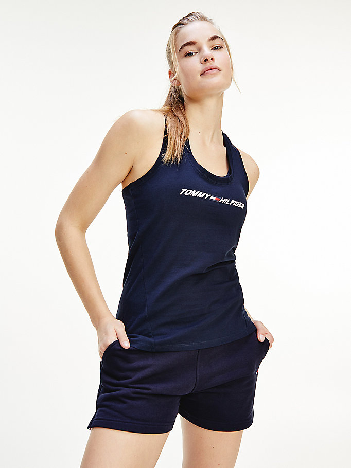 blue sport th cool racerback tank top for women tommy hilfiger