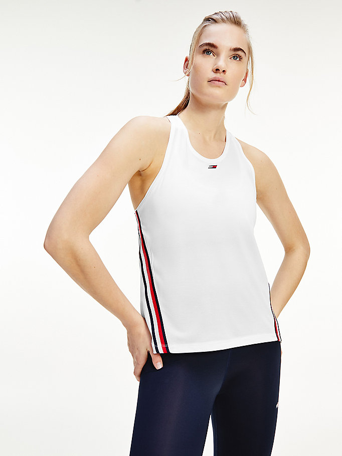 white sport moisture wicking ventilation tank top for women tommy hilfiger