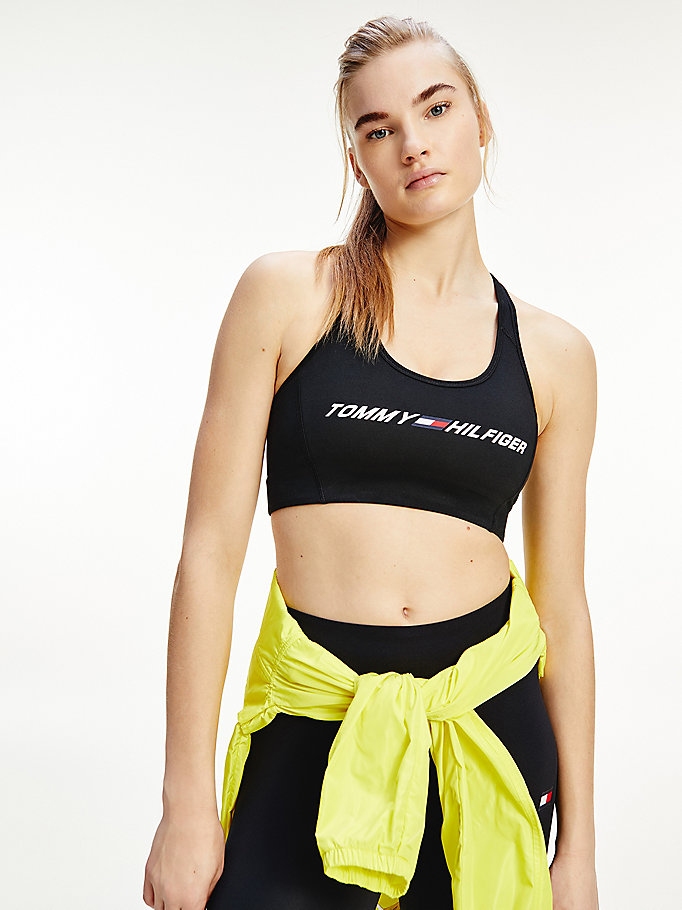 black sport th cool lightweight sports bra for women tommy hilfiger