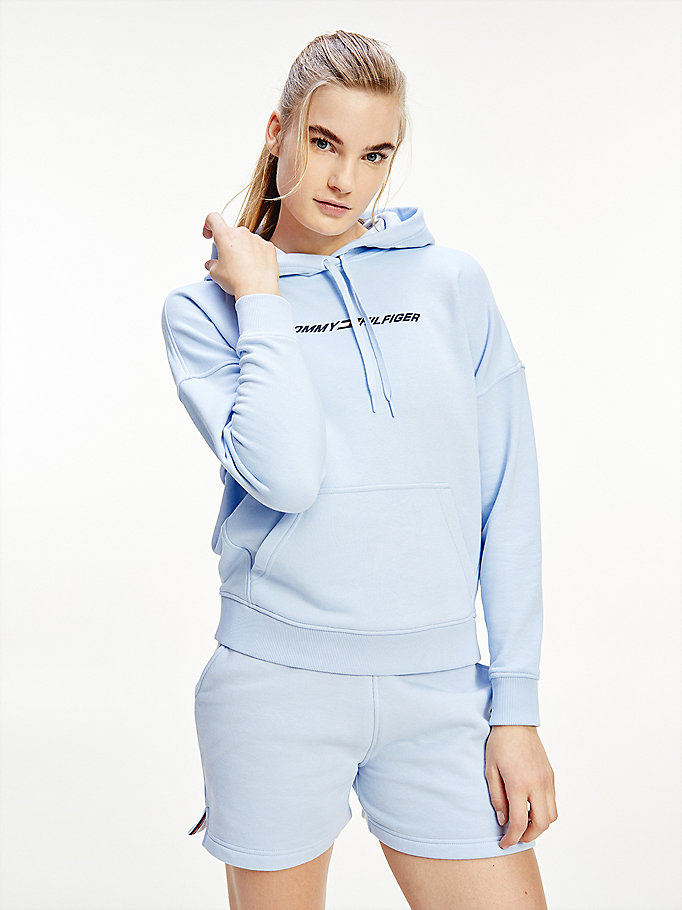 blue sport th cool relaxed fit hoody for women tommy hilfiger