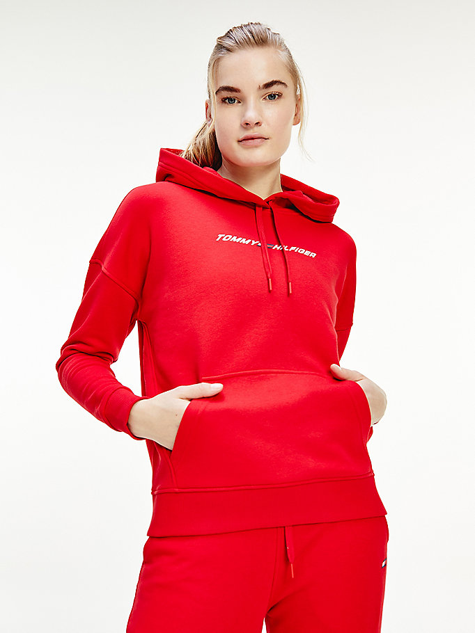 sweat à capuche de sport th cool rouge pour femmes tommy hilfiger