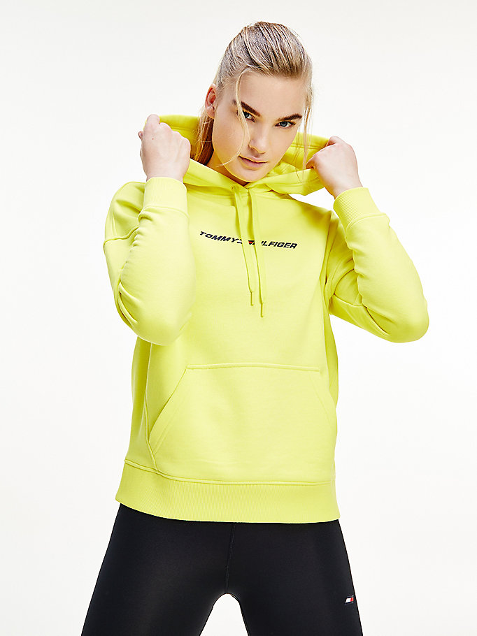 geel sport th cool relaxed fit hoodie voor dames - tommy hilfiger