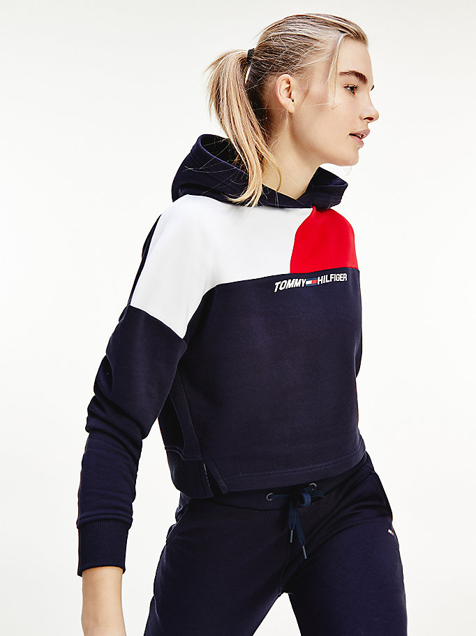 blue sport th cool relaxed colour-blocked hoody for women tommy hilfiger