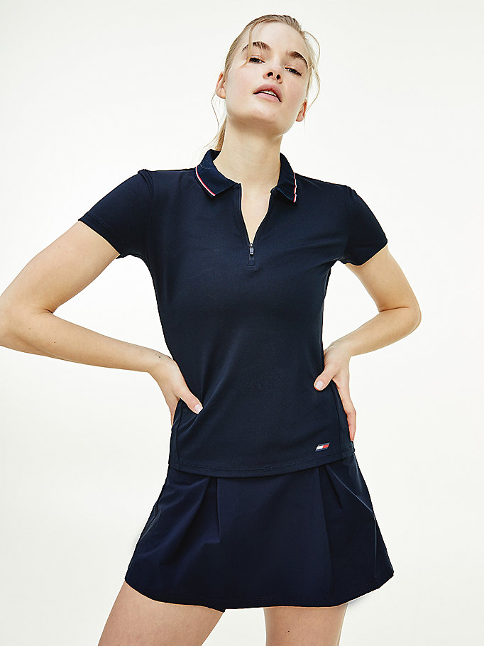blauw sport th cool slim fit polo voor dames - tommy hilfiger