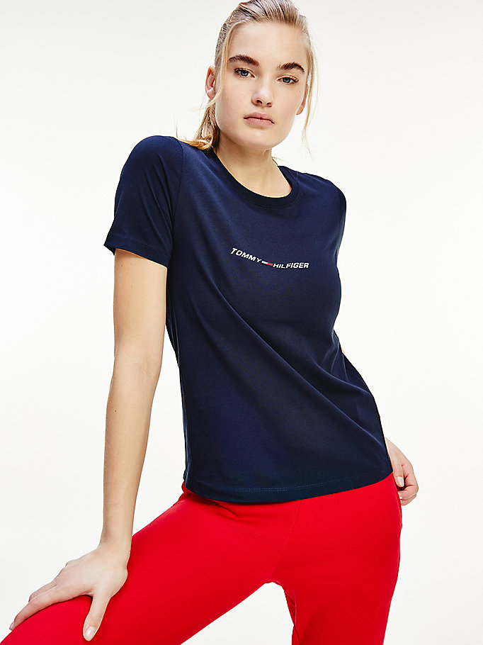 blue sport th cool graphic t-shirt for women tommy hilfiger