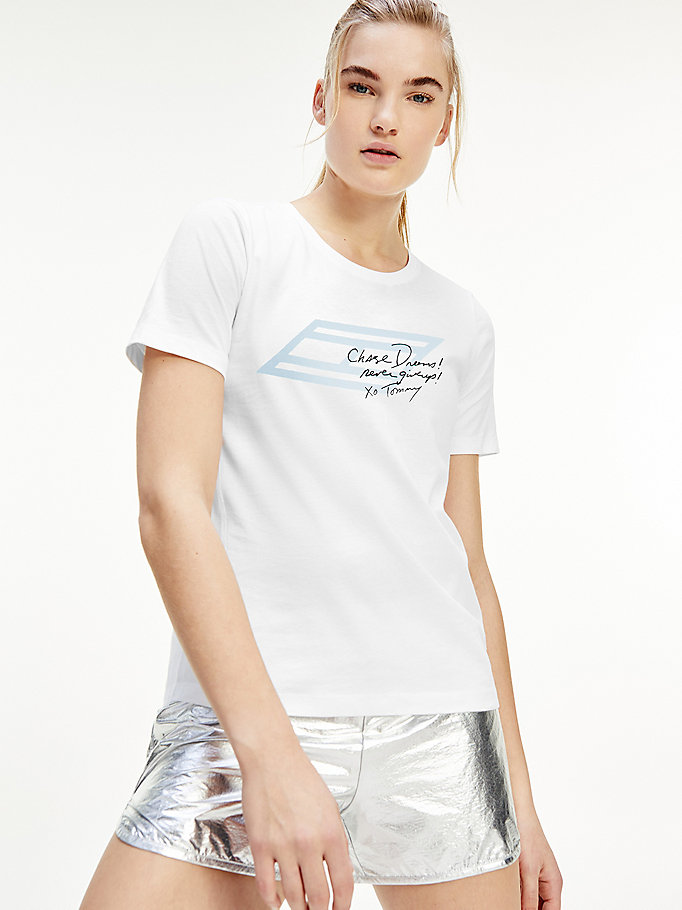 t-shirt sport th cool in cotone biologico bianco da women tommy hilfiger