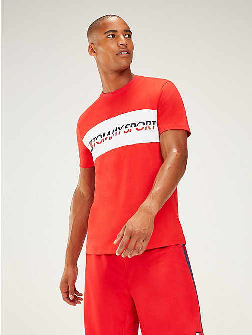 TOMMY SPORT Logo Panel T-Shirt - TRUE RED - TOMMY SPORT Men - main image