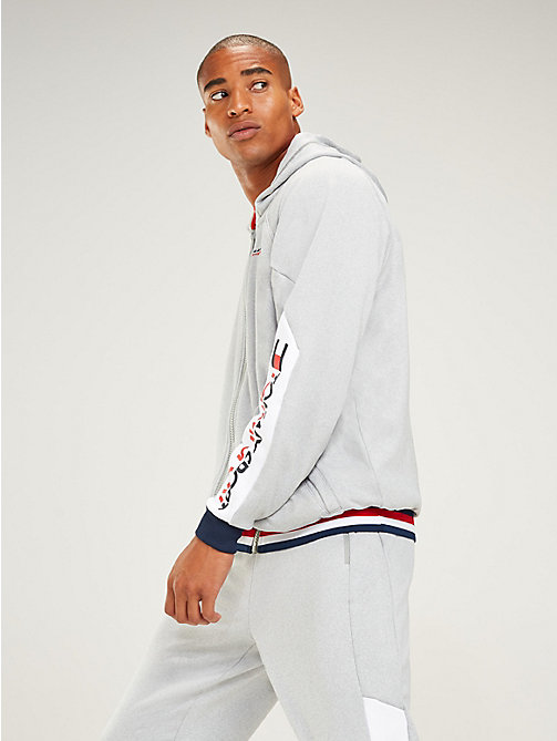 TOMMY SPORT Zip-Thru Contrast Lining Hoody - GREY HEATHER - TOMMY SPORT Men - main image