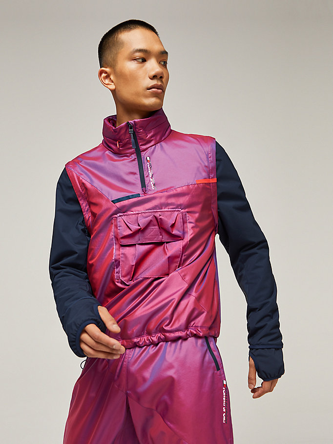 red iridescent hooded jacket for men tommy sport