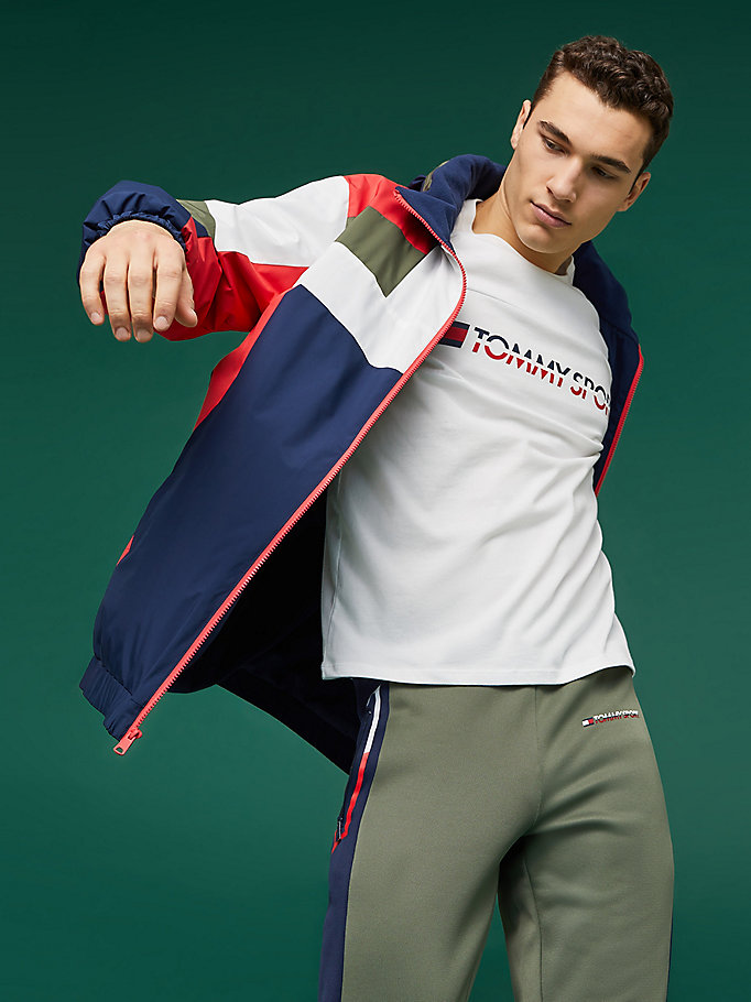 blue reflective colour-blocked zip jacket for men tommy sport