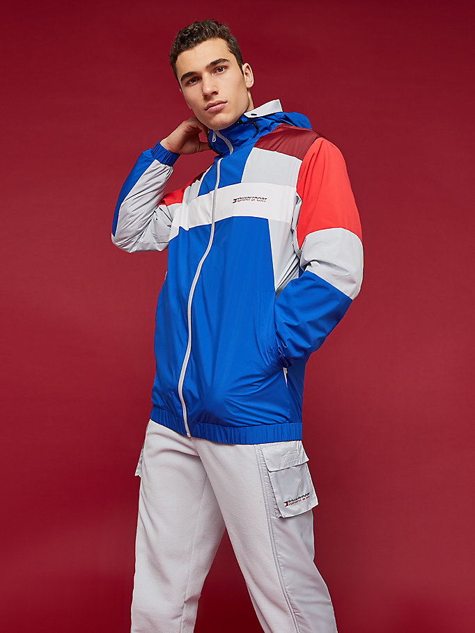 giacca impermeabile color block blu da men tommy sport