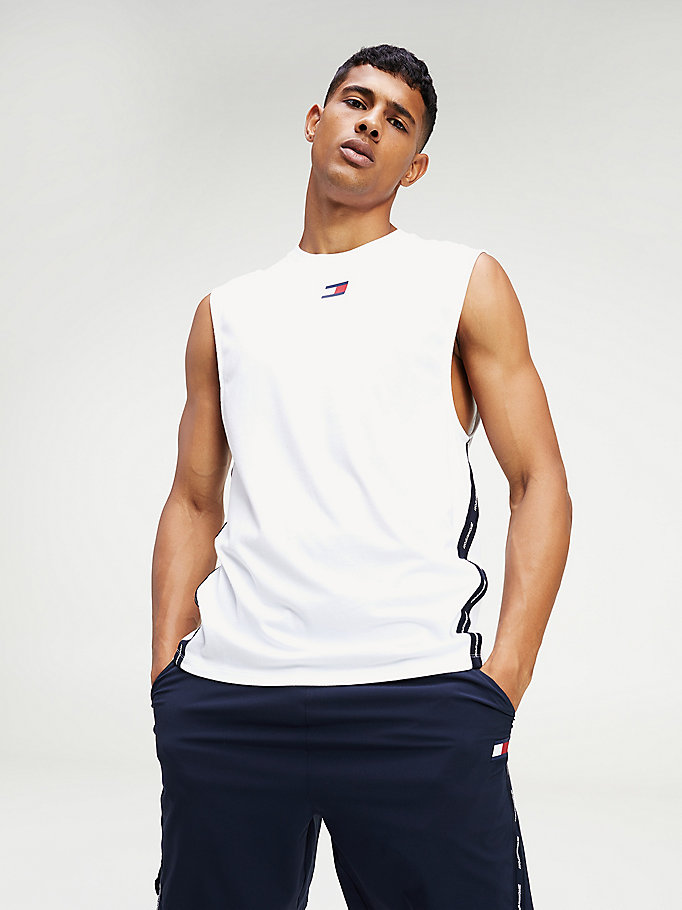 white tape detail tank top for men tommy sport