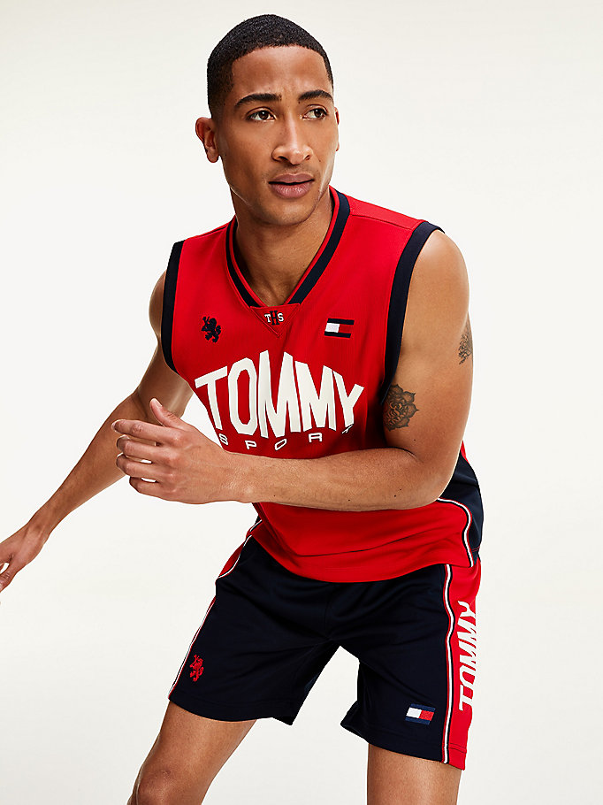 red moisture wicking basketball tank top for men tommy sport