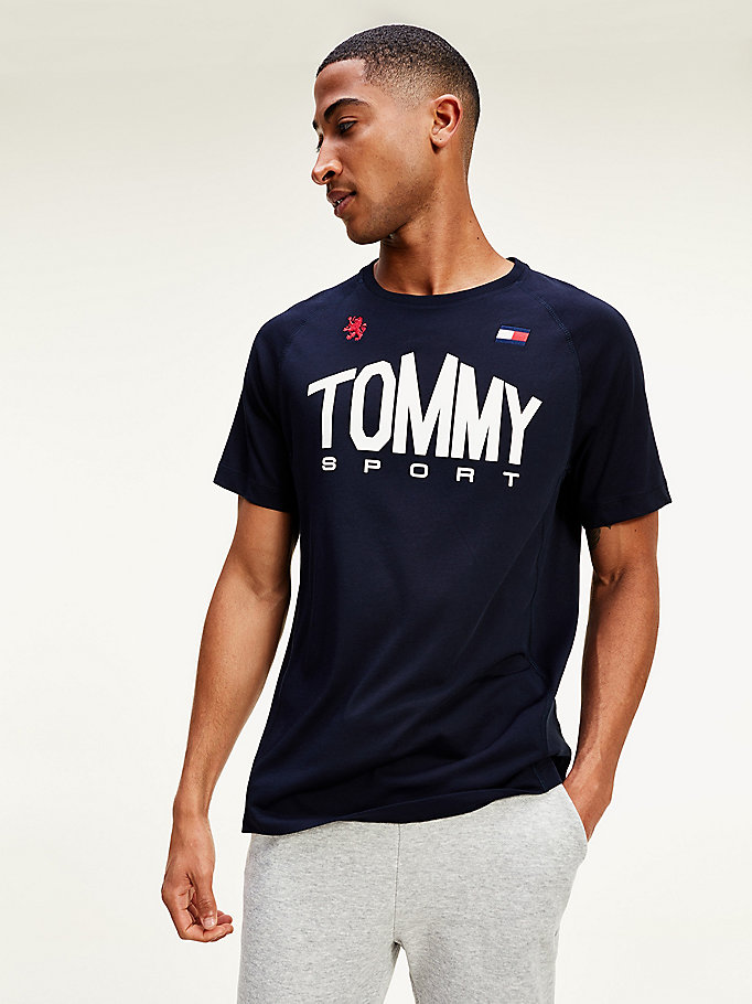 blue tommy icons moisture wicking cotton blend t-shirt for men tommy sport