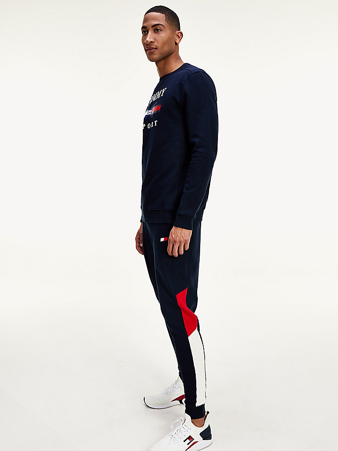 joggers felpati antiumidità color block blu da men tommy sport