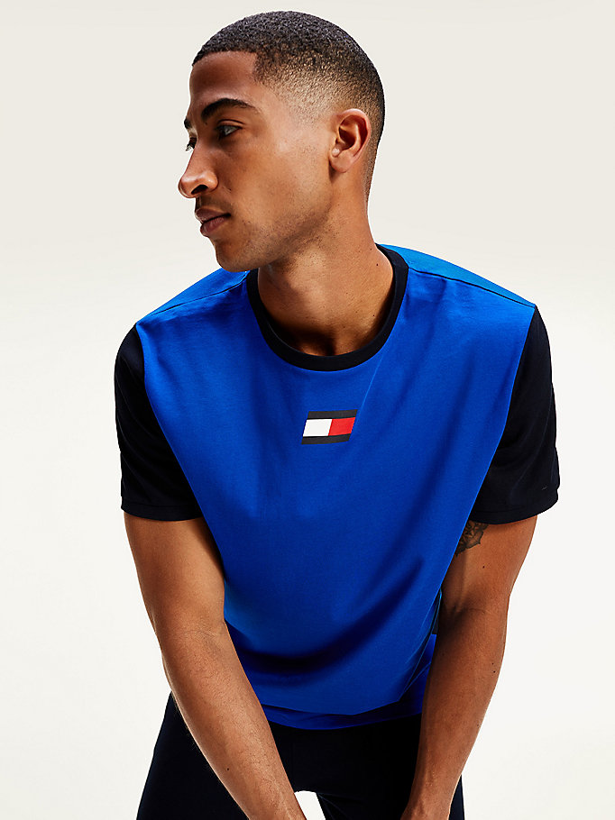 blue moisture wicking rubberised flag t-shirt for men tommy sport