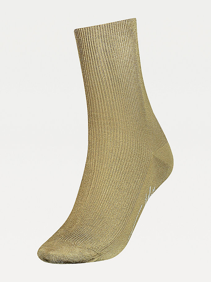 yellow ribbed socks for women tommy hilfiger