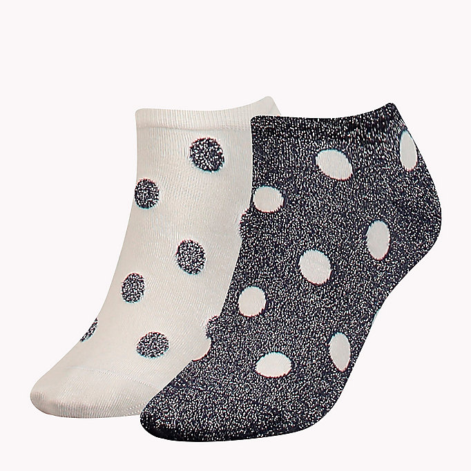 TOMMY HILFIGER 2-Pack Glitter Polka Dot Socks - BLACK - TOMMY HILFIGER Clothing - main image