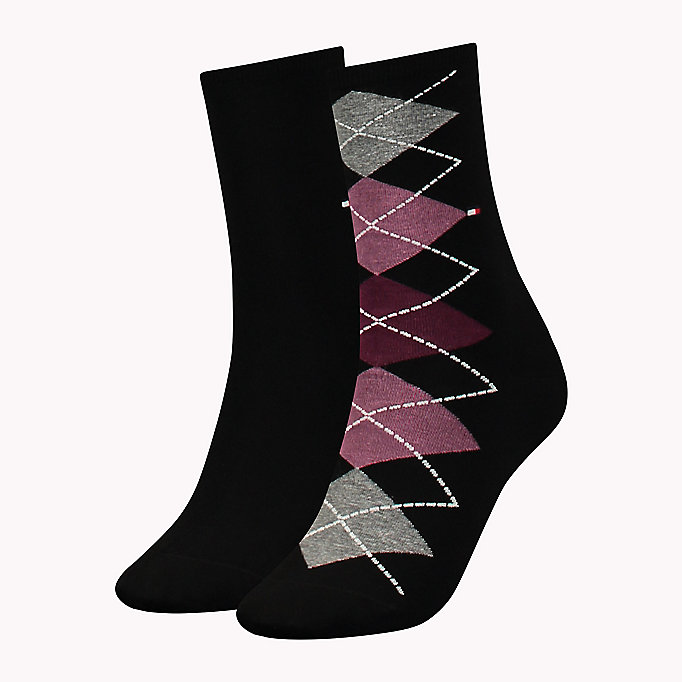 TOMMY HILFIGER TH WOMEN TWISTED ARGYLE SOCK 2P - MIDDLE GREY MELANGE - TOMMY HILFIGER Women - main image
