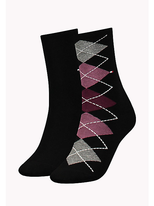 TOMMY HILFIGER TH WOMEN TWISTED ARGYLE SOCK 2P - BLACK - TOMMY HILFIGER Socks & Hosiery - main image