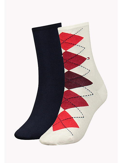 TOMMY HILFIGER TH WOMEN TWISTED ARGYLE SOCK 2P - WHITE - TOMMY HILFIGER Sokken & Panty's - main image