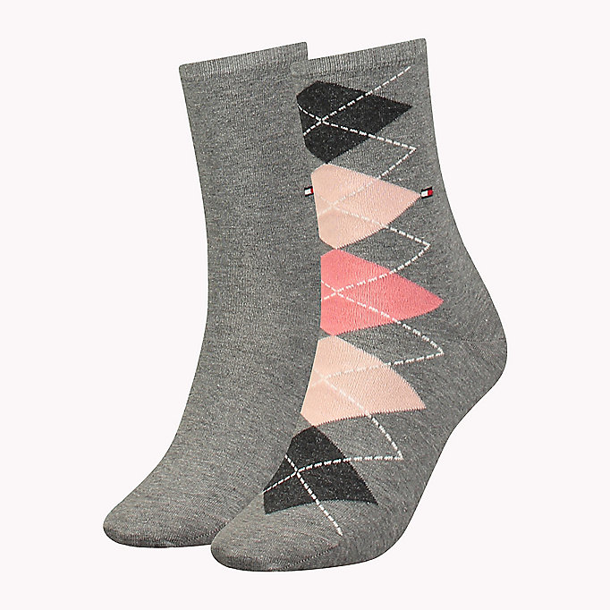 TOMMY HILFIGER TH WOMEN TWISTED ARGYLE SOCK 2P - WHITE - TOMMY HILFIGER Women - main image