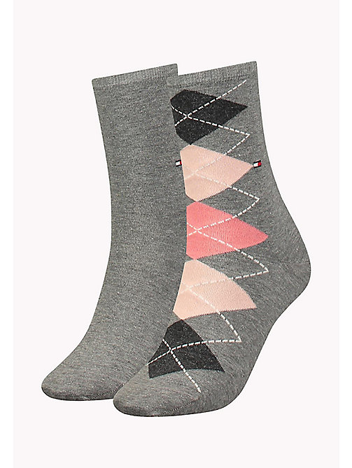 TOMMY HILFIGER TH WOMEN TWISTED ARGYLE SOCK 2P - MIDDLE GREY MELANGE - TOMMY HILFIGER Sokken & Panty's - main image