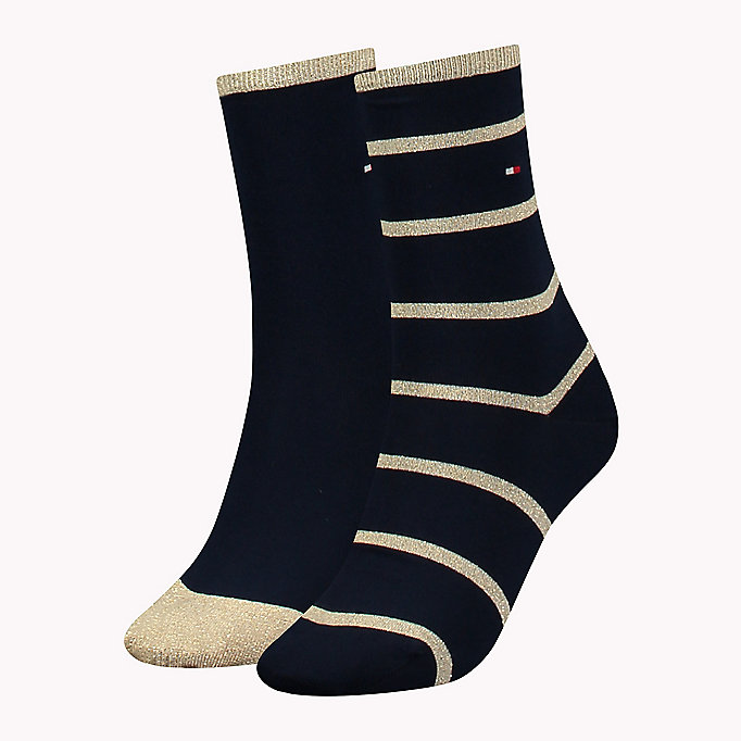 TOMMY HILFIGER TH WOMEN GLITTER ACCENT SOCK 2P - TAWNY COMBO - TOMMY HILFIGER Dames - main image