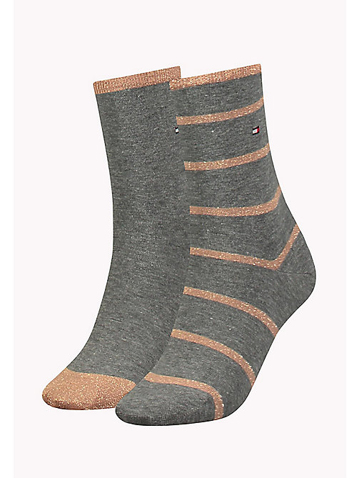 TOMMY HILFIGER TH WOMEN GLITTER ACCENT SOCK 2P - MIDDLE GREY MELANGE - TOMMY HILFIGER Socks & Hosiery - main image