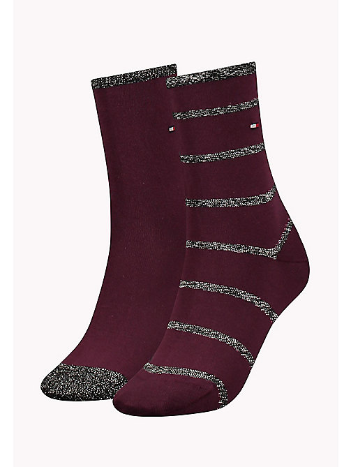 TOMMY HILFIGER TH WOMEN GLITTER ACCENT SOCK 2P - TAWNY COMBO - TOMMY HILFIGER Socks & Hosiery - main image