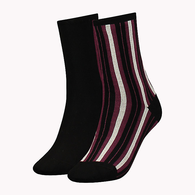 TOMMY HILFIGER TH WOMEN VERTICAL STRIPE SOCK 2P - MIDDLE GREY MELANGE - TOMMY HILFIGER Clothing - main image