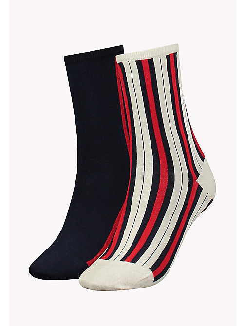 TOMMY HILFIGER TH WOMEN VERTICAL STRIPE SOCK 2P - WHITE - TOMMY HILFIGER Socks & Hosiery - main image